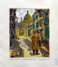 "GEORGE CRIONAS ""ARTIST OF MONTMARTRE III"" Hand Signed Ltd Edition Color Etching"
