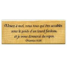 MATTHEW 11:28 in FRENCH bible verse mounted rubber stamp, Christian #11