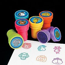 12 Safari Zoo Animal Stampers Self-inking assorted colors and styles each sealed