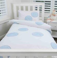 BLUE DOTS SINGLE DOONA COVER w PILLOWCASE KIDS QUILT SET BOYS BED LINEN SHEET