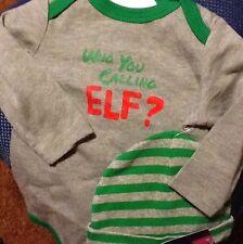 Nwt Cherokee Bodysuit Creeper w/ Hat Who You Calling Elf 3M Baby Boy Christmas