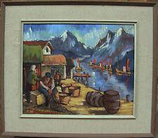 T. Halvorsen, villaggio di pescatori nel Fjord per 1950/60