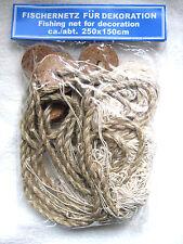 DEKO Fischernetz beige Ca. 250x150cmcm mit 5 echten Kork - Schwimmern