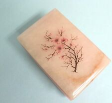 Genuine Alabaster Hand Carved Italian Vintage Cherry Blossom Trinket Box EUC