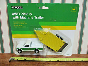 John Deere Ford Pickup With Machine Trailer By Ertl 1/64th Scale >