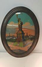 Antique Statue of Liberty Reverse Painting Chicago Portrait Co 1917 Convex Glass