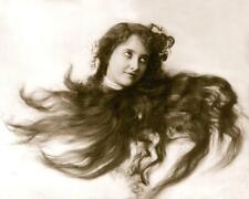 Young Woman Head Framed in Flowing Hair - Art Noveau Fitz W. Guerin 8x10 Reprint