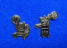 2 Cute Subtle Gold Barcelona 1992 Cobi Olympic Mascot Basketball Lapel Pins