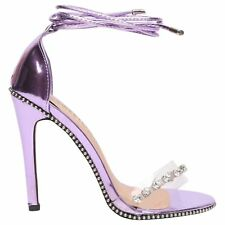 LADIES LATEST HIGH FASHION SANDALS PERSPEX DETAILS STILETTO HEELS SHOES SIZE 3-8