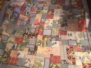 Pottery Barn Patchwork Quilf Blanket Farmhouse Feedbag Vintage Style 80""
