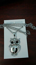 """Owl Snap Button Necklace- 24-26"""" Chain, Pendant & Snap-Great Quality!"""