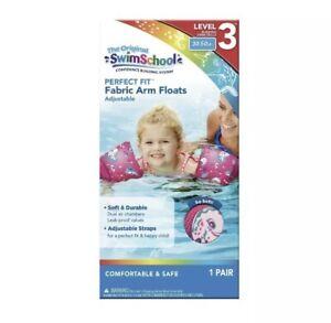 Swim School Soft Fabric Arm Floats | Adjustable 40-80 LBS Water Wings - PINK