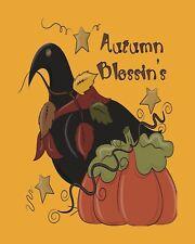 METAL MAGNET Thanksgiving Fall Autumn Blessin's Crow Pumpkin Bird MAGNET
