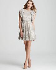 NWT $368 BCBG MAXAZRIA Cynthia Silver Combo Metallic Lace Cocktail Dress size 2