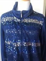 Quacker Factory Women's 1X Blue Zip Up Velour Lace Sequin Bling Jacket