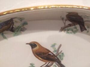 L Lourioux Le FAUNE Porcelain Oval Baking/Casserole Serving Dish Birds FRANCE