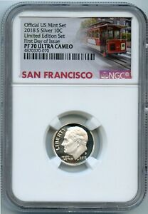 2018-S NGC PF70 Ultra Cameo Limited Edition Set First Day of Issue Roosevelt 10c