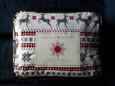 NIP Nordic North Queen Sheet Set Turkish Flannel Red White Gray Deer 100% Cotton