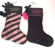 Qty 2 Victoria Secret Velvet & Sequin Black Pink Christmas Holiday Stocking Set