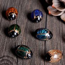 5PCS Random Oval Loose Beads Gold Sand Glass Buddha Spacer Bead DIY Crafts