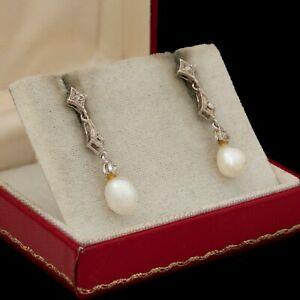 Antique Vintage Deco Style 14k White Gold Diamond Saltwater Akoya Pearl Earrings