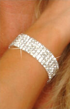 5 Rows Crystal  Rhinestone Clear  CZ Silver Plated Bracelet 6.5 Inches