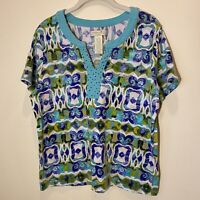 Caribbean Joe Women's Petite Size XL Top Short Sleeve V-Neck Multicolor