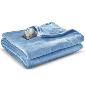 Biddeford Micro Plush Electric Heated Blanket Twin Size Prairie Blue