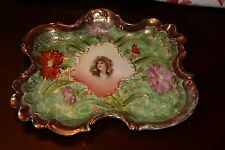 Antique RS ES Germany Small Porcelain TRAY Green/Red/Carnations Lady Portrait