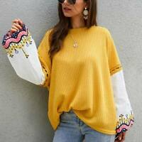Pullover Tops Womens Knit Shirt Sweater Loose Long Sleeve Knitted Casual T-Shirt