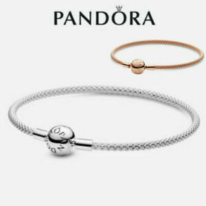 ALE S925 Genuine Silver Pandora Moments Mesh Bracelet With Box & Polishing Cloth