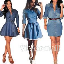 Damen Langarm Jeanskleid Denim Minikleid Hemdkleider Tunika Longshirt Gr.34-44