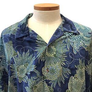 Tommy Bahama Men's Dragon Print Blue Aloha Hawaiian Shirt Tencel Blend Size 2XL