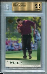 2001 Upper Deck Golf #1 Tiger Woods Rookie Card RC BGS Graded Gem Mint 9.5