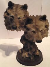 Wolf / Wolves Figurine 2 Head Bust 0N Base- Resin - 10 1/2 Inches High