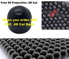 Paintballs .68 Cal 3.6 Grams Self Defense Nylon Solid 500 Balls Glass Beaker Blk