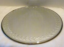 """Antique ART DECO 14"""" Round WALL MIRROR Beveled ETCHED GLASS Metal Edge PLATEAU"""