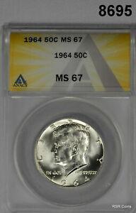 1964 KENNEDY HALF DOLLAR ANACS CERTIFIED MS67 ULTRA RARE BRILLIANT GEM! #8695