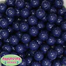 16mm Navy Blue Acrylic Solid Bubblegum Beads Lot 20 pc.chunky gumball