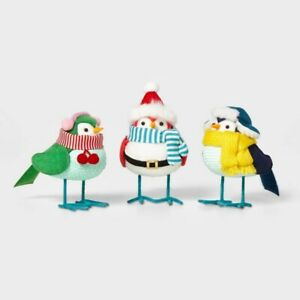 Set/3 Mini Outdoorsy Fabric Birds Hat Scarf Wondershop Featherly Friends Spritz