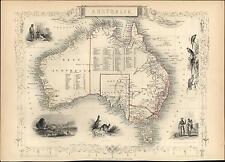 Australia kangaroos aborigines parrots New Holland 1851 Tallis decorative map