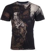 AFFLICTION Mens T-Shirt BLACK BOOK Royalty Series SKULL Biker Jeans VTG $78
