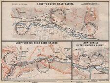 ST GOTTHARD RAILWAY SPIRAL/LOOP TUNNELS Wassen Freggio Prato Biaschina 1889 map