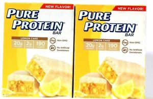 2 Boxes Pure Protein 10.58 Oz Lemon Cake 20g Protein Blend Energy 6 Count Bar