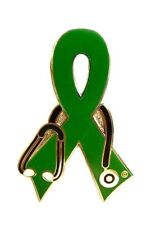 Kidney Cancer Lapel Pin Awareness Green Ribbon Silver Plated Stethoscope New