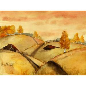 Watercolour Russian Fields Landscape Large Wall Art Print Canvas Premium Poster