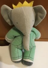 Vintage Plush Beanie BABAR The ELEPHANT In Green Suit Small