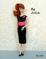 OOAK Silkstone Barbie Doll Clothes - SHEATH DRESS with BROACH - Taffeta & Cotton