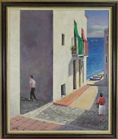 B1-039. LANDSCAPE OF PEÑISCOLA. OIL ON CANVAS. ALEJANDRO VILLA. 1974.