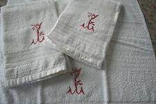 3 serviettes anciennes, N°103 ,monogramme MY?, toilette, éponge